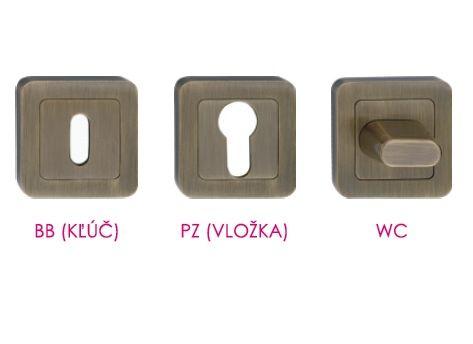 Varianty rozetových kľučiek